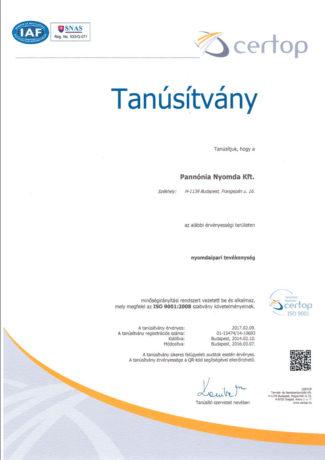 Pannónia Nyomda Kft. - ISO9001 tanúsítvány
